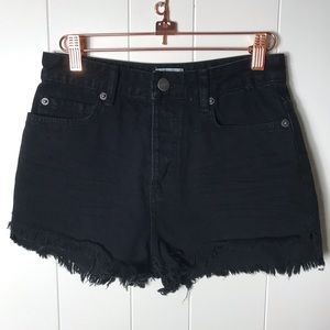 Amuse Society Cut Off Denim Jean Shorts Button Fly